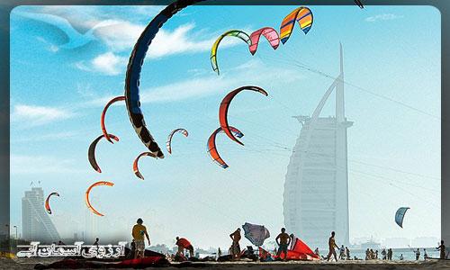 ساحل بادبادك ها در دبي _ آسمان آبي